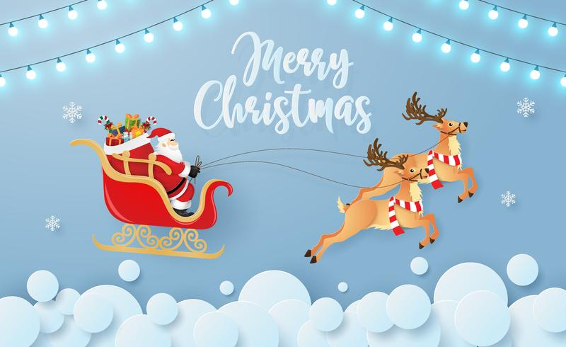 Origami paper Merry Christmas Card