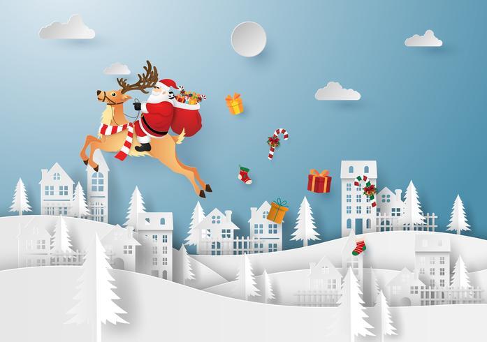 Arte di carta origami di Babbo Natale e renne nel villaggio vettore