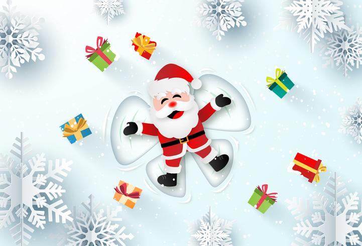 Origami paper art of Santa Claus making snow angles  vector