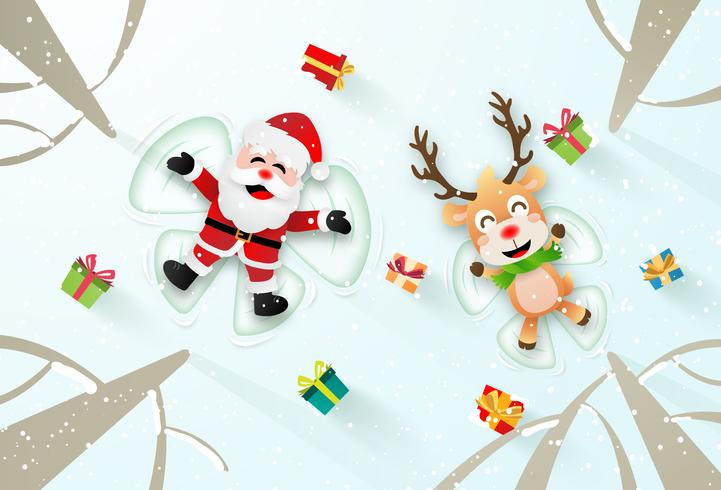 Santa Clause and Reindeer Making Snow Angles  vector
