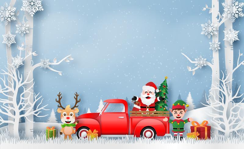 Kerstkaart met rode vrachtwagen met Santa Claus en rendieren