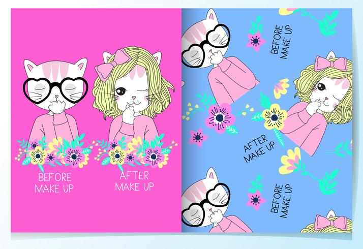 Hand drawn cute cats before and after makeup pattern set vector