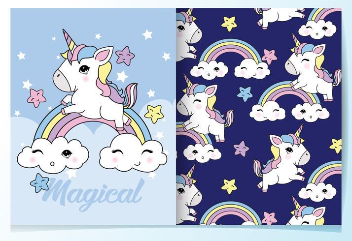 Dibujado a mano lindo unicornio con conjunto de patrones de arco iris vector