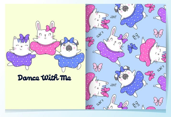 Dibujado a mano lindo gato, conejo, perro bailando con faldas conjunto de patrones vector