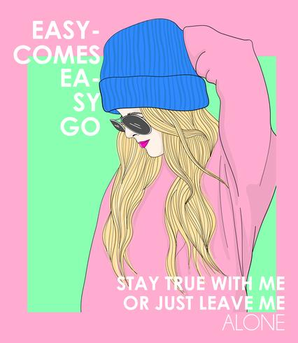Hand drawn girl wearing beanie and sunglasses with typography