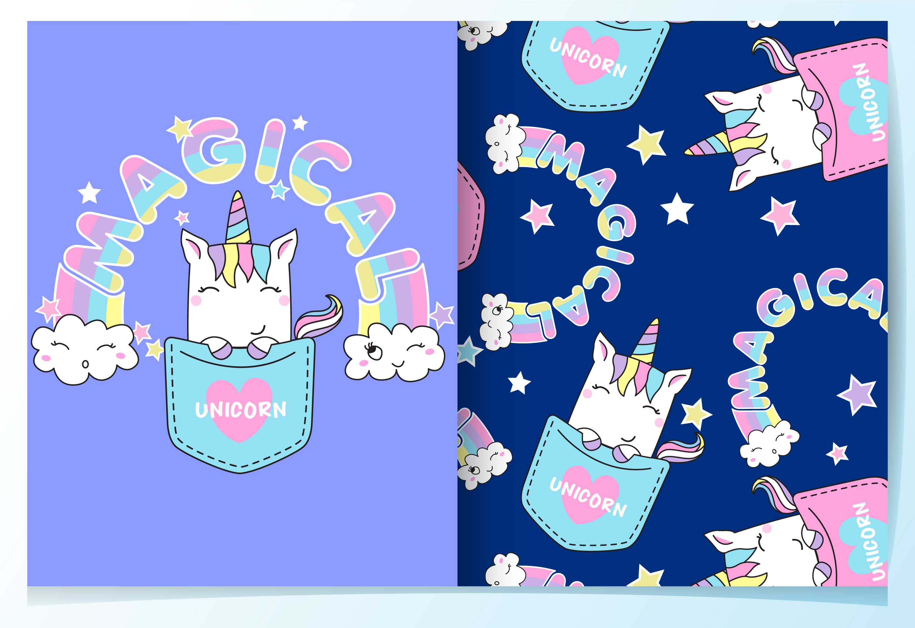 hand drawn cute unicorn in pocket pattern set 673661