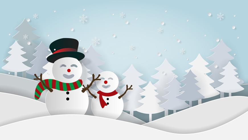 Snowman landscape card in paper style