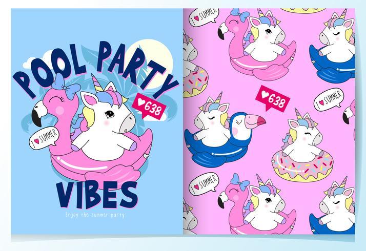 Dibujado a mano lindo unicornio en flotador de piscina con conjunto de patrones vector