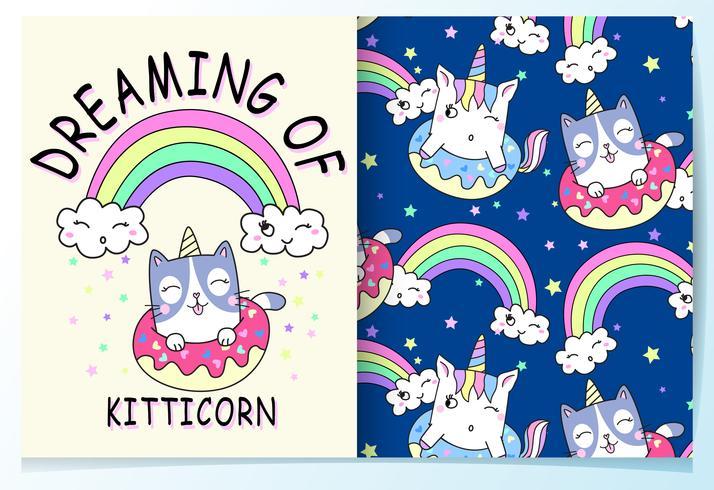 Dibujado a mano lindo gato con donut y unicornio patrón de cuerno vector