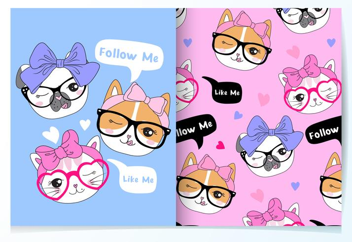 Hand drawn cute animal heads with glasses and bows pattern set
