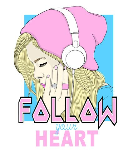 Hand drawn girl wearing beanie and headphones with follow your heart text vector