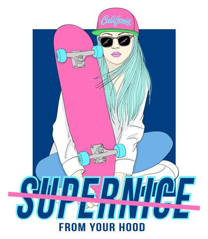 Hand drawn girl sitting with skateboard with typography