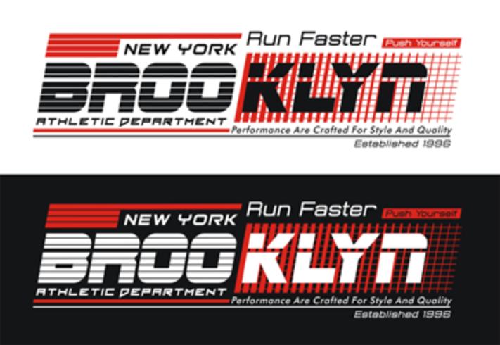 New York, Brooklyn, typografigrafik, vektorillustration