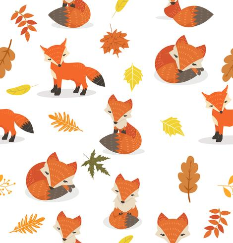 Cute Fox Different Poses Leaves Pattern Download Free
