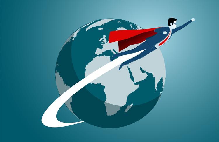 Empresarios exitosos de superhéroes volando alrededor de la tierra