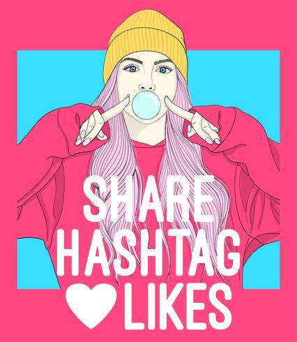Chica dibujada mano soplando burbujas con tipografía de redes sociales vector