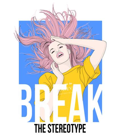 Hand drawn girl flipping hair in the air with typography