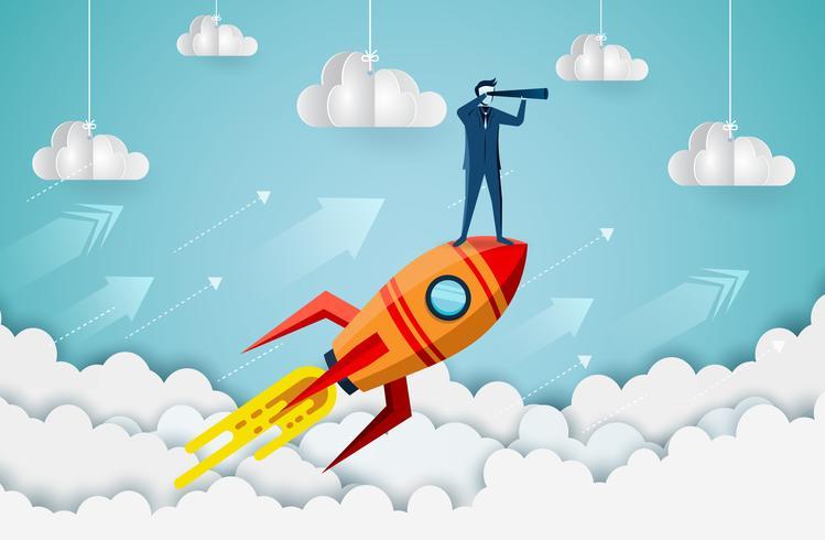 Empresarios de pie en cohetes disparando en el cielo vector