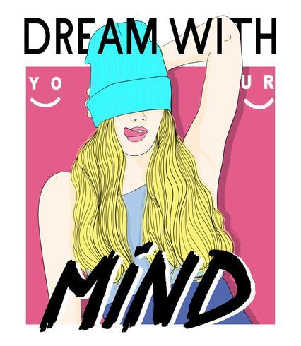 Chica dibujada a mano con gorro y sueña con el texto de tu mente vector