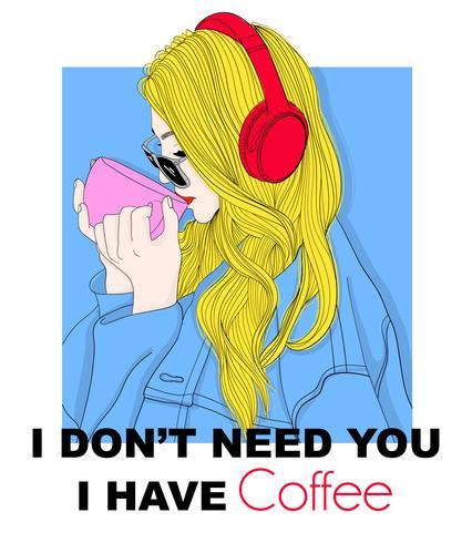 Hand gezeichneter trinkender Kaffee des Mädchens mit Kopfhörern und Typografie
