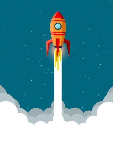 Space rocket taking off into sky  vector