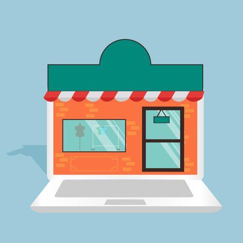 Illustrazione online di concetto del computer portatile del negozio