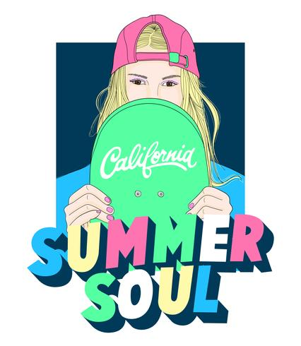 Chica dibujada a mano con sombrero hacia atrás, patineta y texto de alma de verano vector