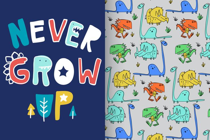 Never Grow Up Typography with pattern set vector