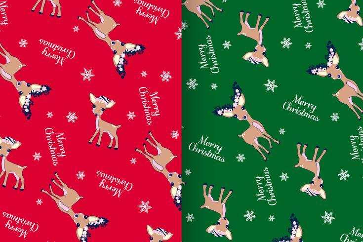 Conjunto de patrones de ciervos de feliz Navidad vector