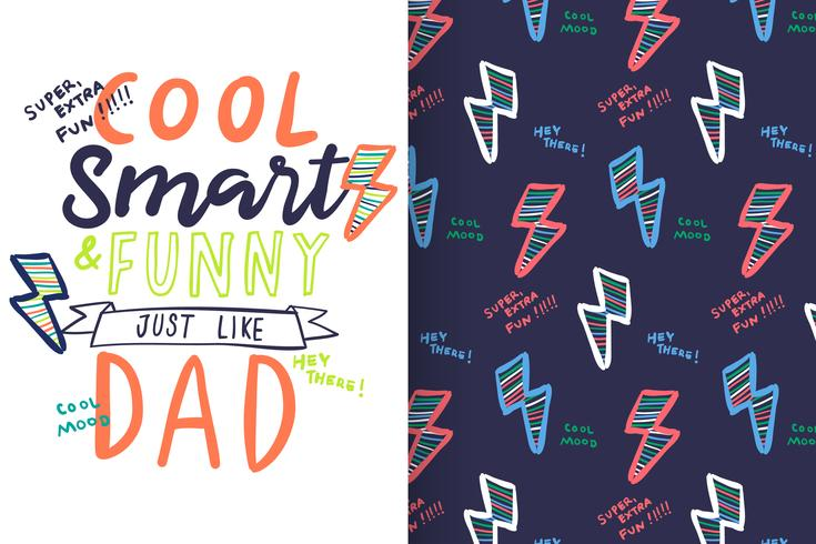 Cool Smart and Funny Typography with pattern set vector