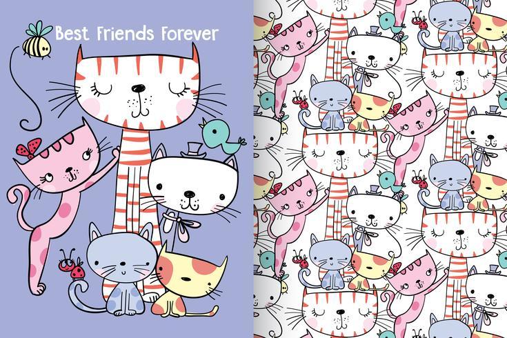 Best Friends Forever Dibujado a mano lindo gatito con conjunto de patrones vector