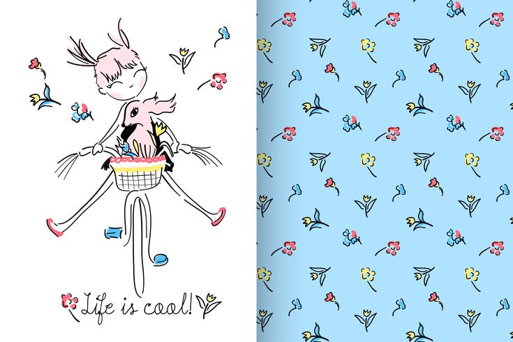 Life is Cool Hand drawn cute girl with pattern set