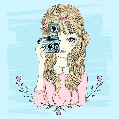 Chica dibujada a mano con cámara vector