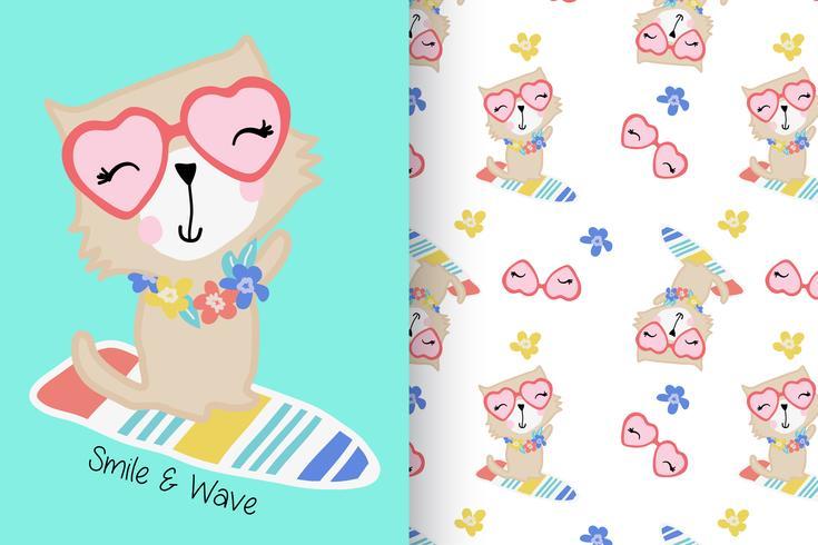 Sorriso e onda mão desenhada gato com conjunto de padrões vetor