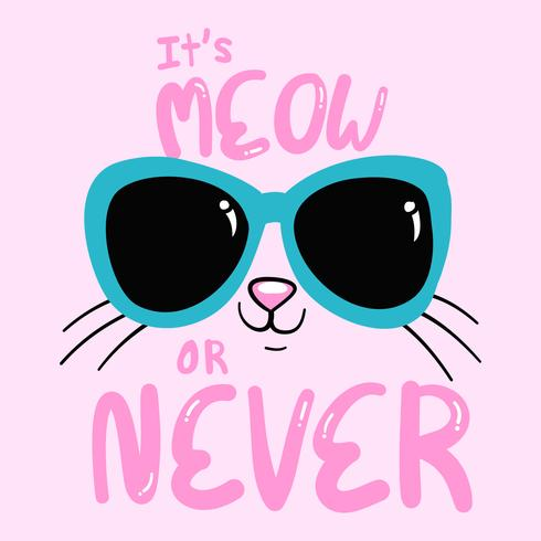 Hand drawn cute kitty with sunglasses  vector