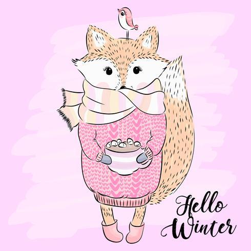 Hand drawn cute foxy with scarf