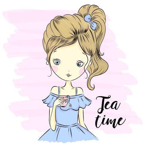 Hand drawn cute girl  vector
