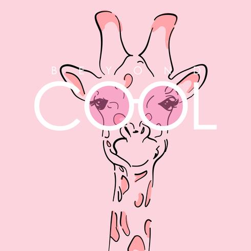 Hand drawn cute giraffe  vector