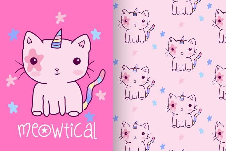 Unicorn Kitten Pink Hand Drawn Kitty mit Mustersatz vektor