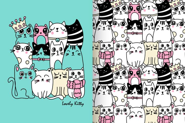 Lovely Kitty Hand Drawn Pattern Set vector
