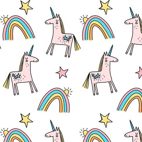 Unicorno pastello disegnato a mano e modello arcobaleno vettore