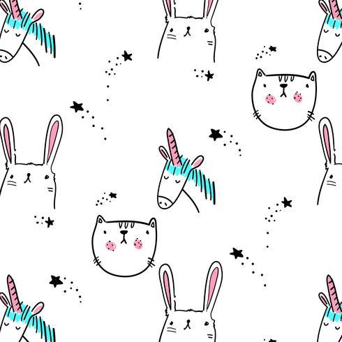 Hand drawn cartoon animal line drawing pattern