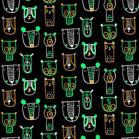 Hand getekend abstract beer en uil gezichten patroon vector