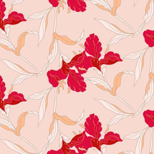 Dibujado a mano patrón floral rojo y durazno brillante