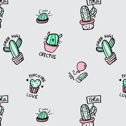 Cactus disegnato a mano con motivo a detti vettore