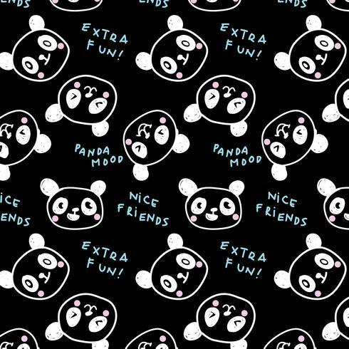 Hand getrokken lijn cartoon baby panda gezicht patroon