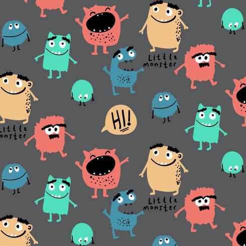 Patrón de monstruos tontos coloridos dibujados a mano vector