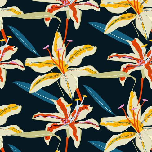 Hand drawn bold tiger lily floral pattern