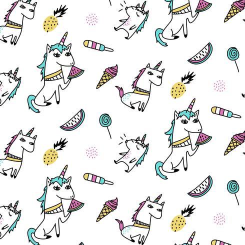 Dibujado a mano unicornio y verano trata patrón