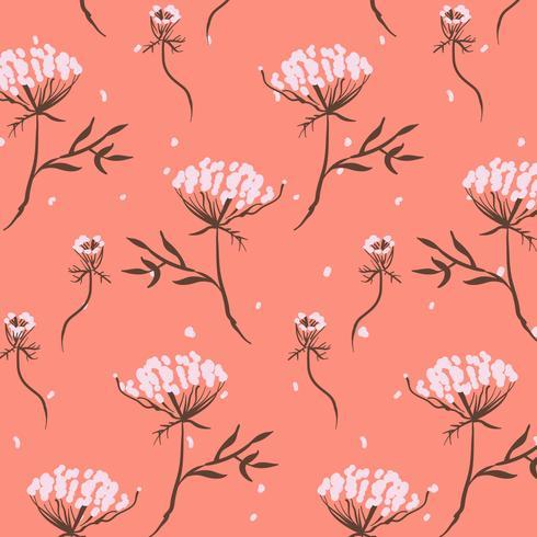 Hand drawn small flower bunches pink orange pattern
